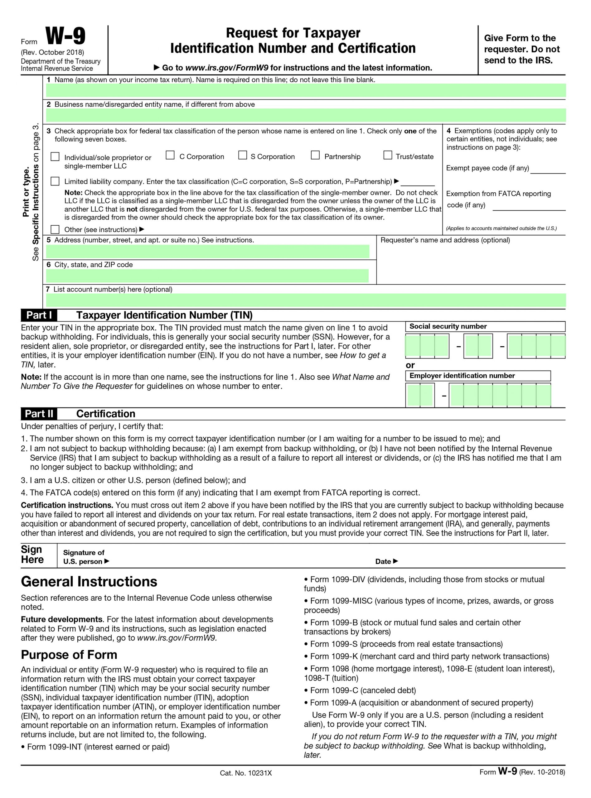 w-9 form 2019 free  Filling IRS Form W-6 – editable, printable blank | fill out ...
