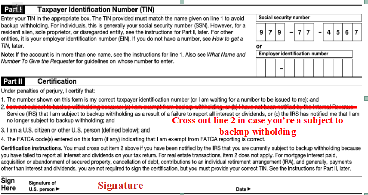 sign W-9 form